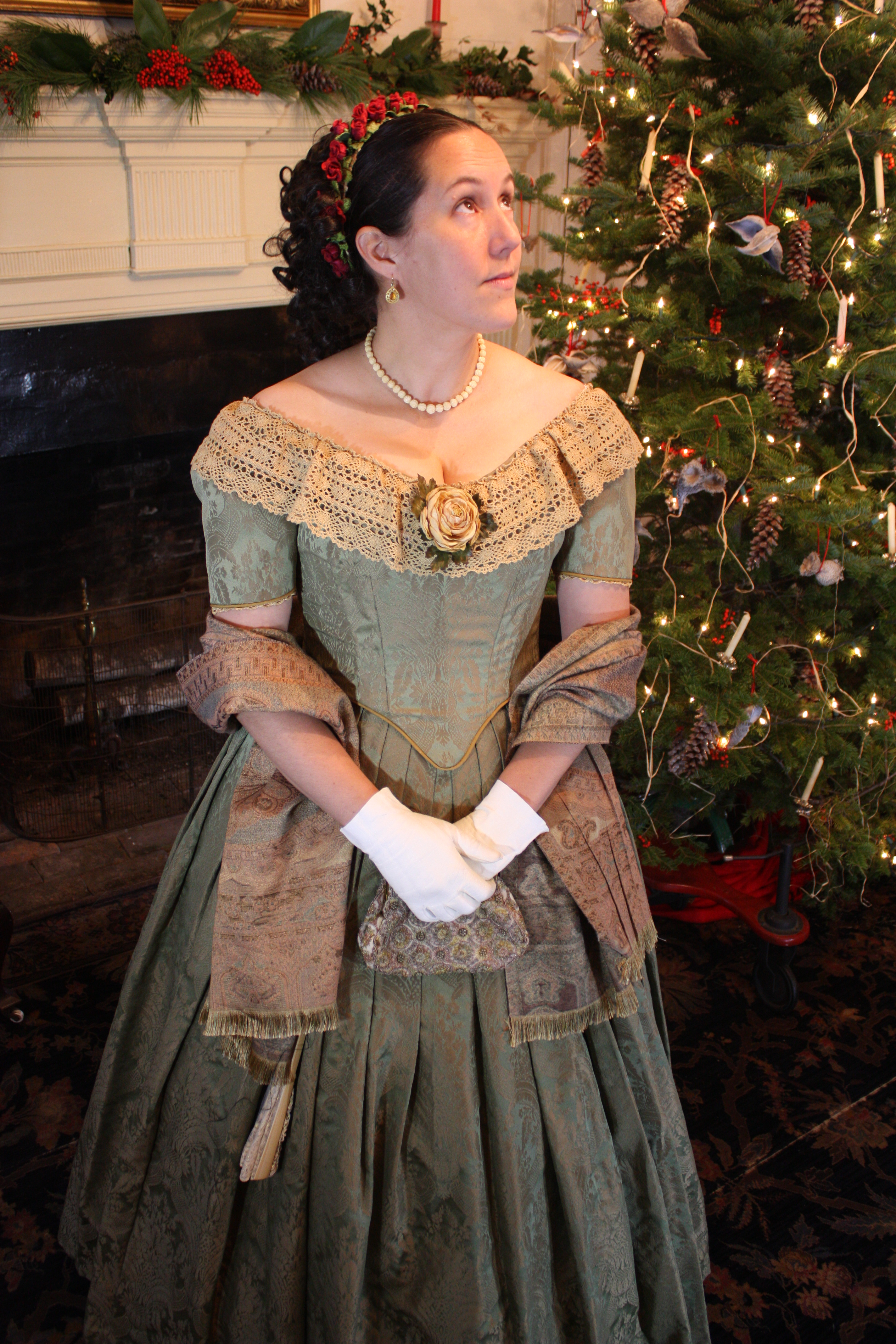 1850 S Ball Gown Green And Gold Tastefully Timeless