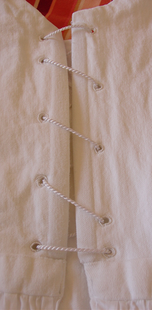 Regency bodiced petticoat lacing detail