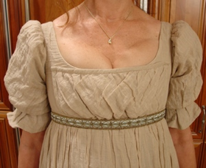 tan regency bodice detail