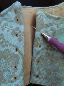 Creating eyelets on bodice