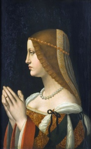 Supposed portrait of Bianca Sforza,an illegitimate daughter of Lodovico il Moro,c.1500