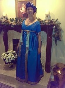 full view Peacock Blue Regency gown