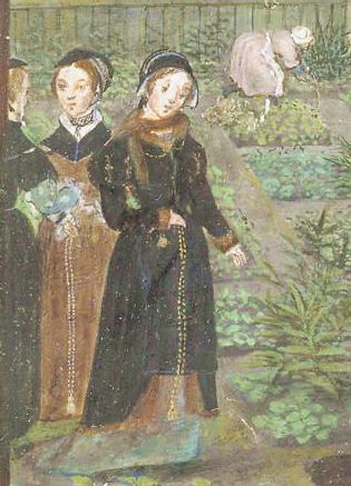 c1550-ladies-wearing-outdoor-clothing-of-brown-and-black-kirtles-and-fur-lined-surcoats