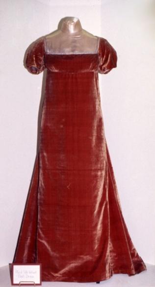 Dolley Madison's red velvet dress, c. 1810–20