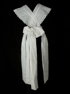 1910, White cotton maid's apron hand embroidered with broderie anglais trim