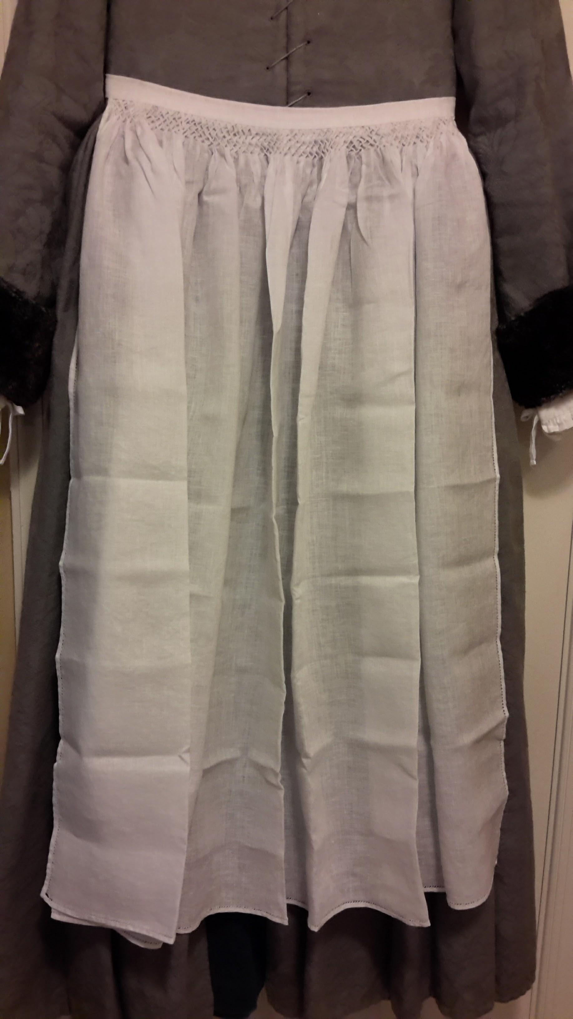 White tudor apron - Plaited Apron Full