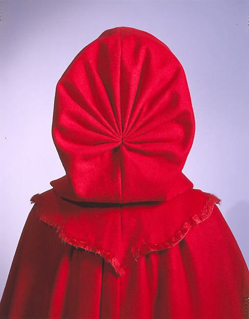 Cloak, 1770, red wool with wool plush trim, hood detail
