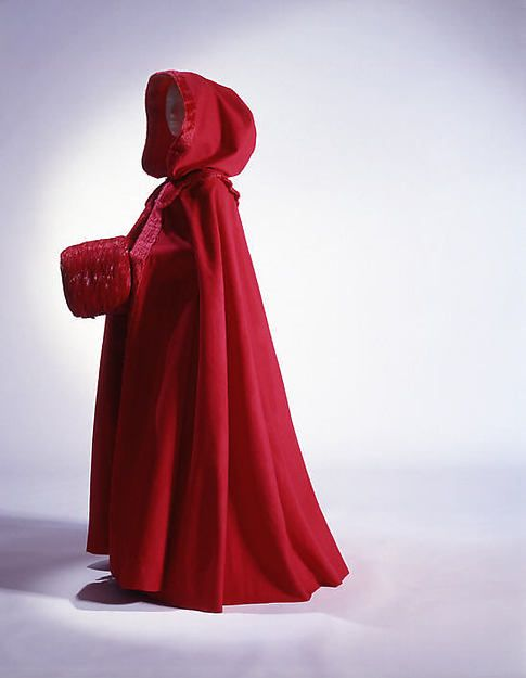 Cloak, 1770, red wool with wool plush trim