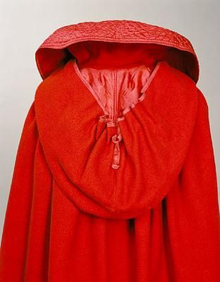 1800 red wool cloak, silk lined hood with inner collar