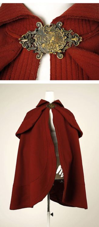 1890 red wool cape with metal clasp