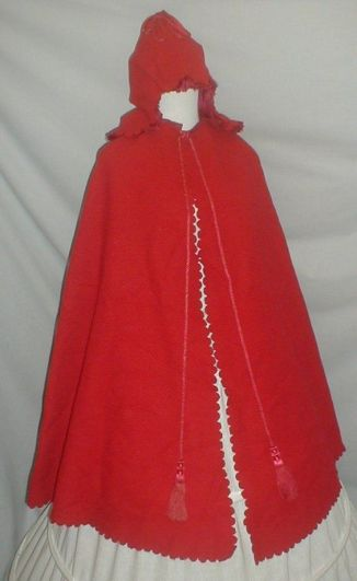 1860 red wool skating cape